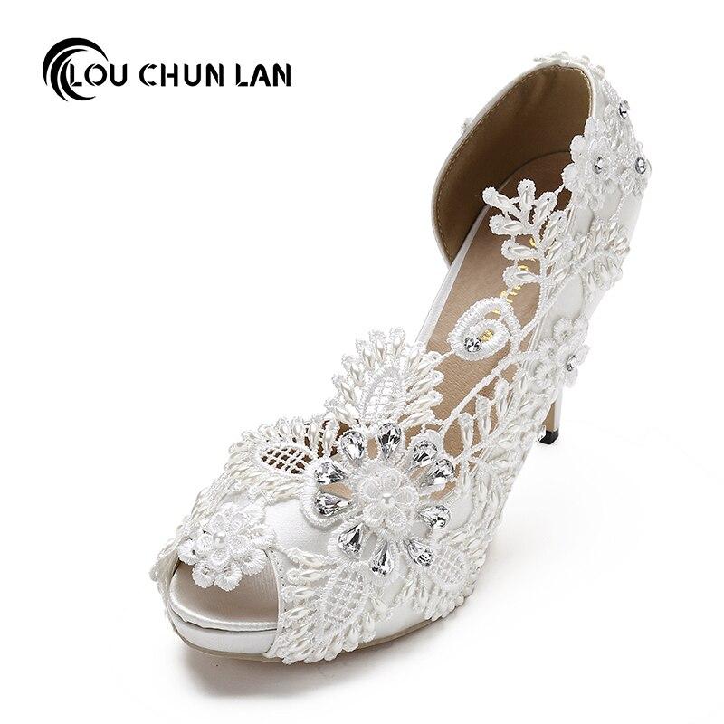 Shoes Women Pumps open Peep Toe Wedding shoes Bride pearl ultra High Heels 11CM rhinestone dress silks satins Size 41-43