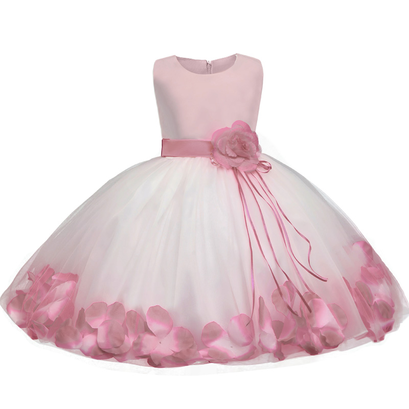 Flower toddler girl baptism dress for girls clothes dresses summer 2017 Petal Hem princess kids dress wedding children clothing summer sequin baby girl dress kids toddler girl clothes baptism princess tutu children s girls dresses vestidos infantis 2 9y