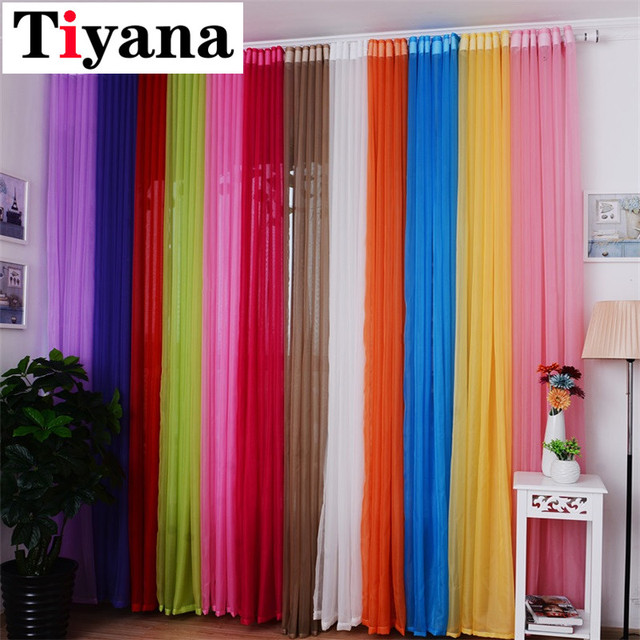 Delightful Hot Sale Rainbow Solid Voile Door Window Curtains Drape Panel Sheer Tulle  For Home Decor Living Room Bedroom Kitchen P184Z15