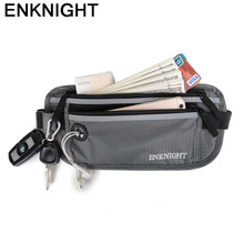 ENKNIGHT Big RFID Money Belt for Travel Waist Pack Bag Women Men Adjustable Fanny Card Anti-theft Pack Plaid Zip Pockets Beg(China)