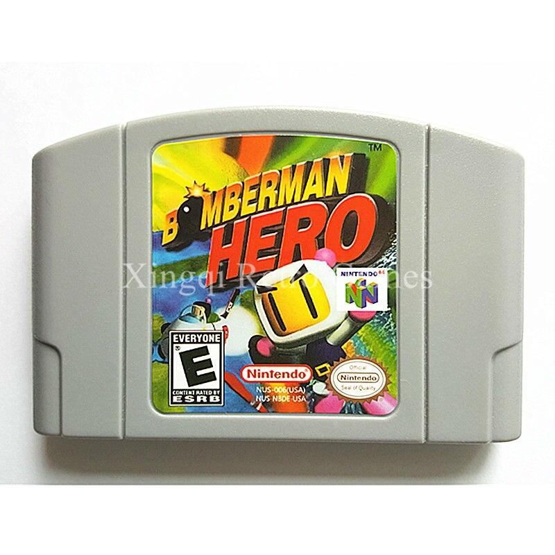 Nintendo N64 Game Bomberman Hero Video Game Cartridge Console Card English Language US Version