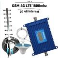Display LCD 2G 4G LTE 1800 Cell Phone Signal Booster 70dB ganho GSM DCS 1800 mhz 4G LTE Amplificador Celular Móvel Antena Yagi conjunto
