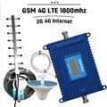Pantalla LCD 2G 4G LTE 1800 Teléfono Celular Amplificador de Señal de 70dB ganancia GSM DCS 1800 mhz 4G LTE Móvil Celular Amplificador Antena Yagi conjunto
