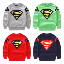 Child super man sweater 2016 baby boys cartoon knitted sweater 100% cotton boys pullover casual sweater