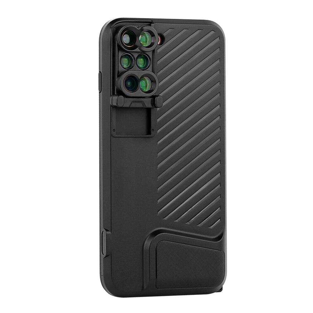 Pour iPhone 7 plus objectif pour téléphone portable 6 dans 1 Camera Lens grand-angle macro Fisheye lentilles de téléphone Pleine Couverture Noire de Cas