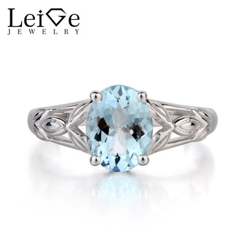 Leige Jewelry Natural Blue Aquamarine Ring Oval Cut Solitaire Gemstone March Birthstone Promise Ring 925 Sterling Silver Ring
