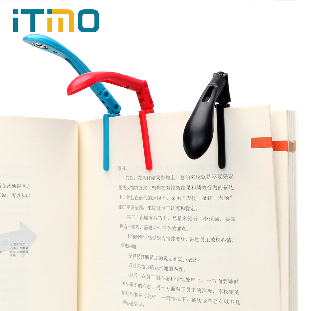ITimo Clip-on Book Reading Lamp with Battery Folding LED Book Lights For Reader Kindle Adjustable Flexible Night Book Light ...