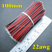 400pcs Lot 10cm 2 Pin 22awg Wire Cable 100mm LED DIY Strip Cable Red Black Color