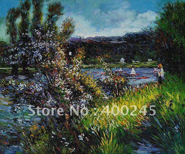 Ландшафтная художественная репродукция Seine at Chatou by Пьер Август Ренуар Картина на холсте ручная работа