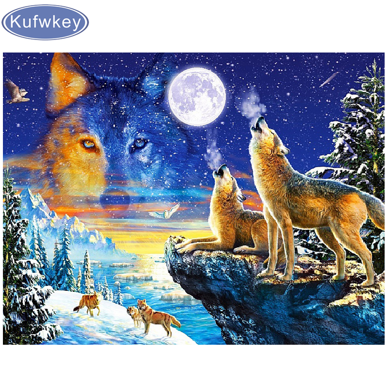 Full Drill Wolf Animal 5D DIY Diamond Painting Embroidery Cross Stitch Decor NEW