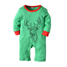 Christmas Costume for Baby 2018 Long Sleeve Boy Girl Romper Infant Green 0-18M Newborn Clothing
