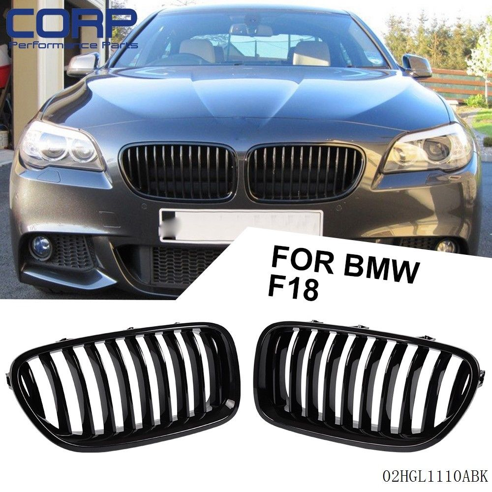Gloss Black For 2013 2016 BMW 5 Series F18 528i 535i Front