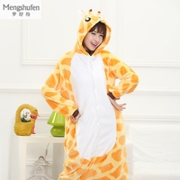Winter Flannel Warm Animal Pajamas One Piece For Adult Cosplay Cartoon Giraffe Sleepwear Home Clothes Couple