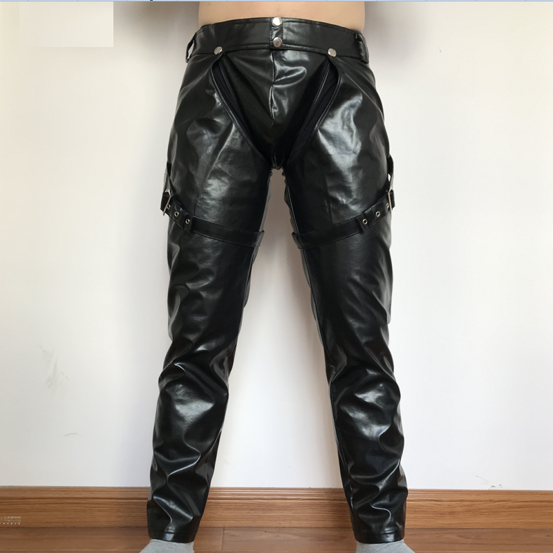 2019 PVC Night Club Men Straps Trousers M 2XL Sexy Men Faux Leather Open Crotch Erotic Latex Pants