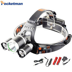 LED Headlight 9000 lumens headlamp cree xml t6 Headlights Lantern 4 mode waterproof torch head 18650 Rechargeable Battery Newest