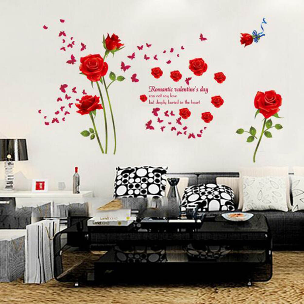 Red/Blue Roses Wall Stickers Living Room Couple Bedroom Sofa ...