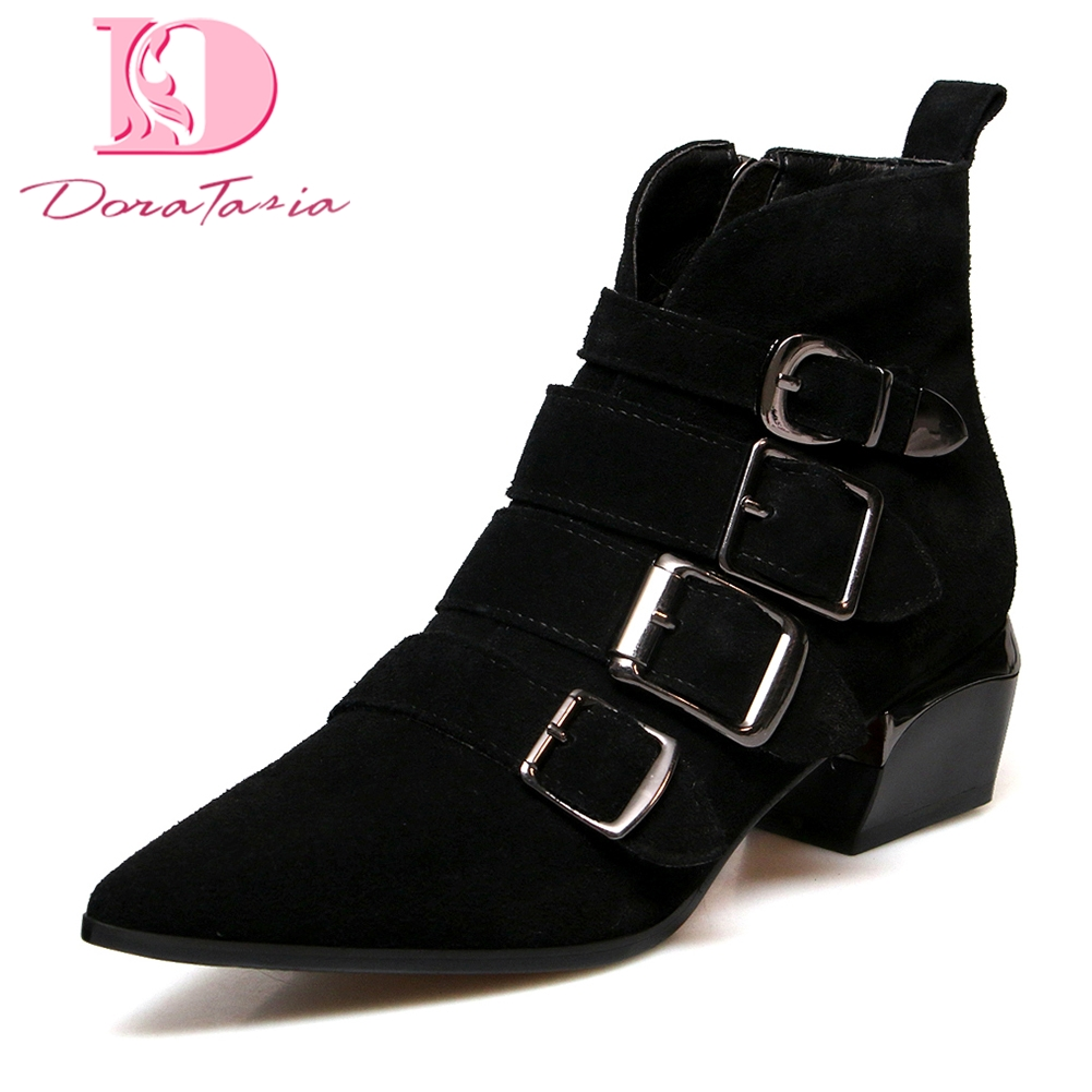 Doratasia Brand new Cow Leather Large Size 33-43 Buckles Shoes Woman Boots Zip Up street style cool Ankle Boots Woman Shoes pu buckles back zip ankle boots page 3