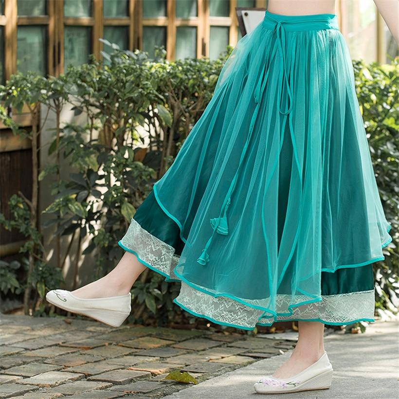 2016 Women Retro Art Princess Lace Chiffon Skirt Patchwork Casual Long Skirt Women Maxi Elegant ...