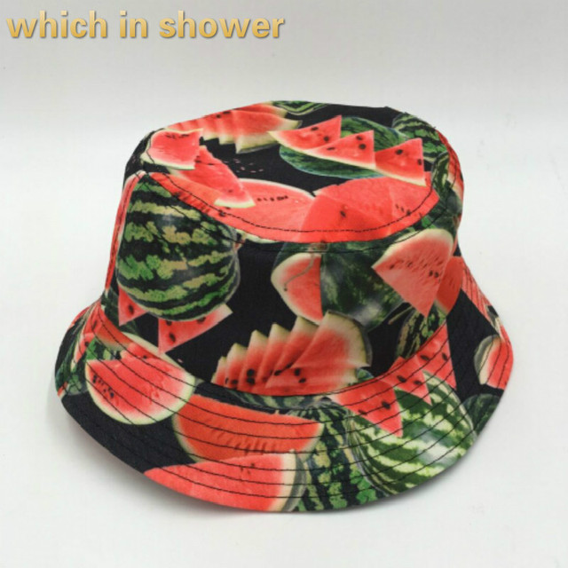 f78ddf942d5 which in shower watermelon bucket hat hip hop printed flat panama for women  men cotton summer sun hat outdoor beach fishing caps