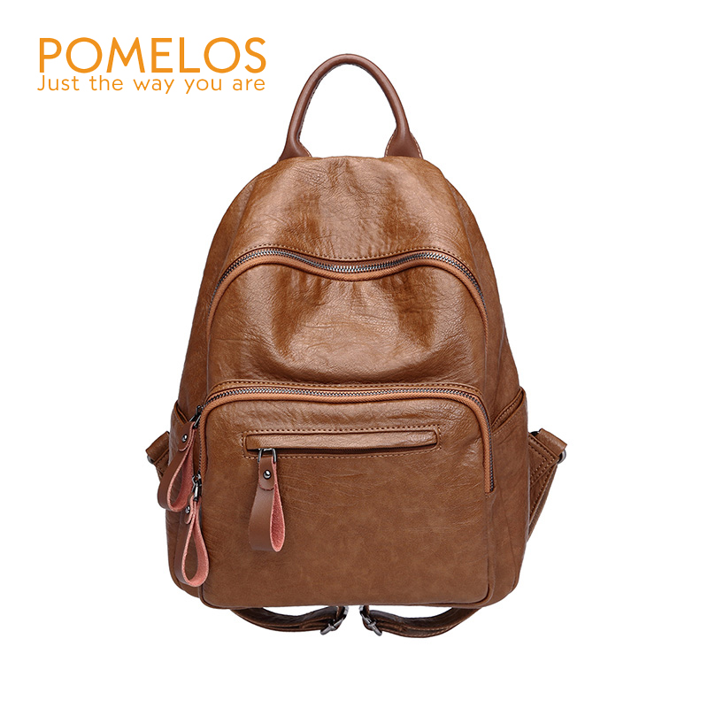 POMELOS Brand NEW Women Fashion Backpack Ladies Vintage Soft Leather Back Pack Rucksack Female Girls School Travel Backpacks free shipping backpack women white and black travel pu leather backpacks ladies fashion female rucksack back bags