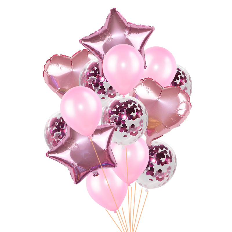 14Pcs/set 18inch Heart Star Foil Confetti Latex Balloons For Birthday And Wedding Party Decor