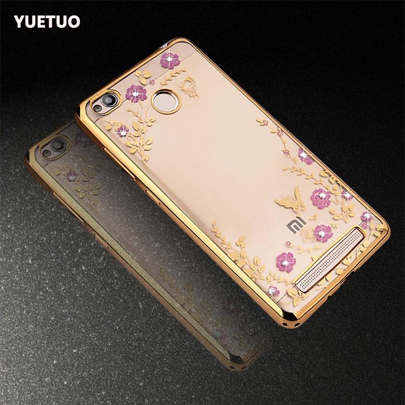 Original de lujo de oro suave tpu cubierta de coque case para xiaomi redmi 3 s p