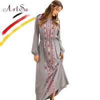 ArtSu 2018 Spring Autumn Long Sleeve Casual Dress Women O Neck Floral Print Maxi Dress Retro Ethnic Robe Longue Femme Plus Size