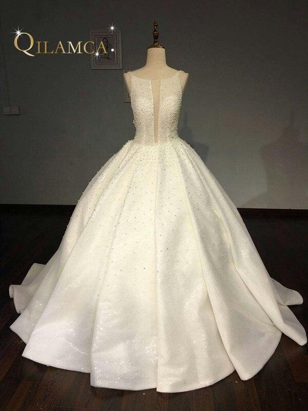 Real Sample Luxurious Full Pearl Beaded Ball Gown Princess Wedding Dress Custom Made Bride Dresses Vestido
