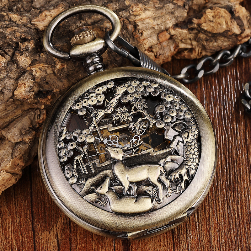 Retro Bronze Steampunk Mechanical Pocket Watch Men Women FOB Chain Hollow Deer Carving Unique Roman Number Double-sided Watches