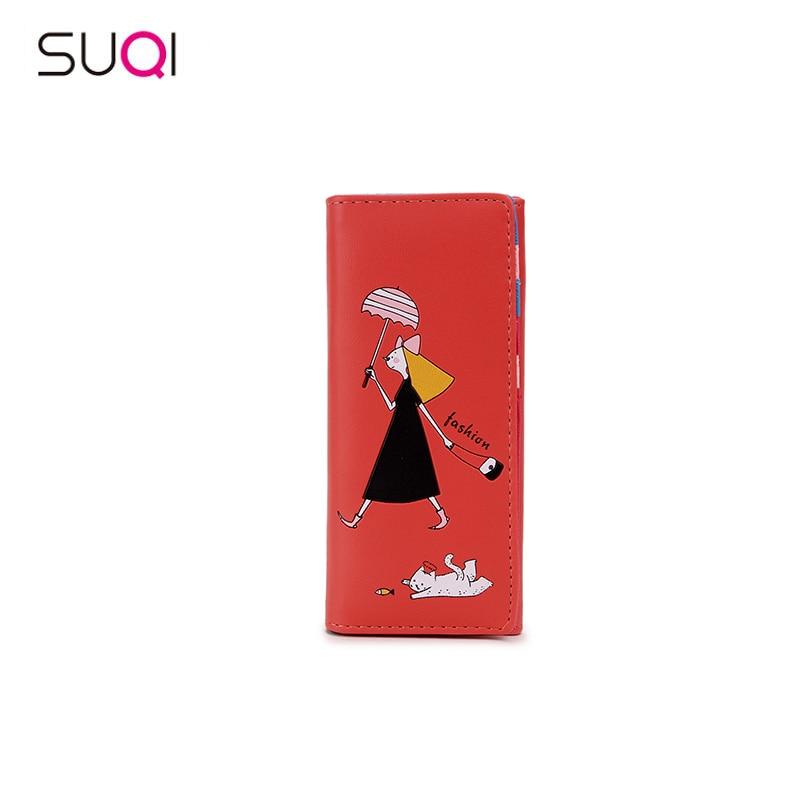 SUQI Ladies Women Wallet Fhshion <font><b>Kawaii</b></font> Shopping Female Pattern Fashion Card <font><b>Holder</b></font> Bag Mobile <font><b>Phone</b></font> Bag For Teenage Girl&#038;Female