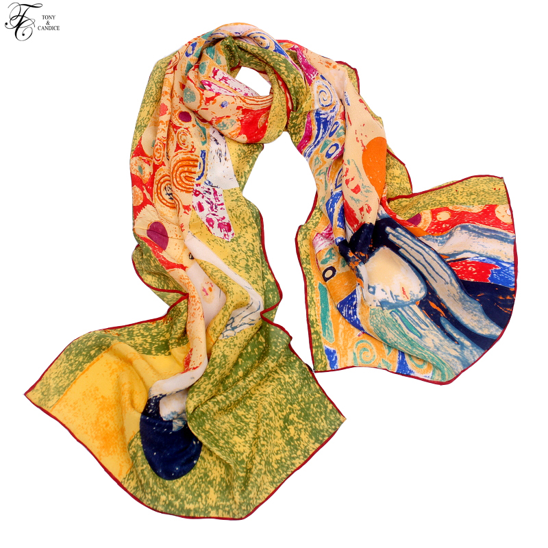 Tony&Candice Women's 100% Silk Shawl Female Pure Silk   Scarves     Wraps   Long Beach Cover-ups Fashion Oil Ladies   Wrap   Wholesale