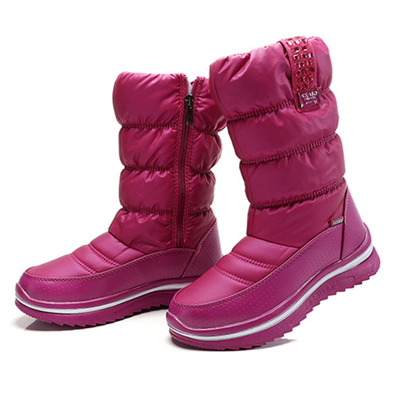 Women snow boots crystal thick plush winter shoes high quality waterproof mid-calf boots fashion women boots white new fashion superstar brand winter shoes embroidery snow boots tassel women mid calf boots thick heel causal motorcycles boots