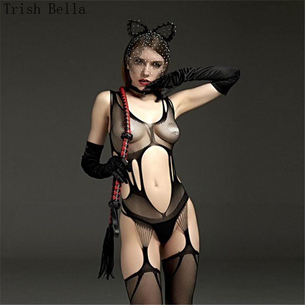 Transparent Hollow Out Camisole Small Net Net Clothing Dew Fishnet Lingerie Bodystocking Body Sexy Costumes Catsuit Open Crotch