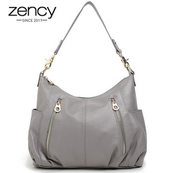 Zency 100% Genuine Leather Handbag Fashion Women Shoulder Bag Casual Tote More Pockets Design Female Messenger Crossbody Purse