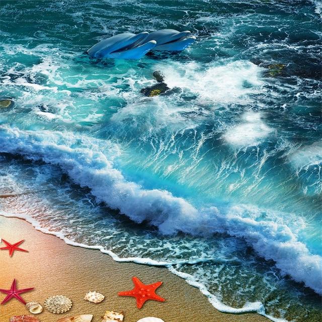 Beibehang Wallpaper Mural Wall Sticker Beach Beach Wave Surf 3d