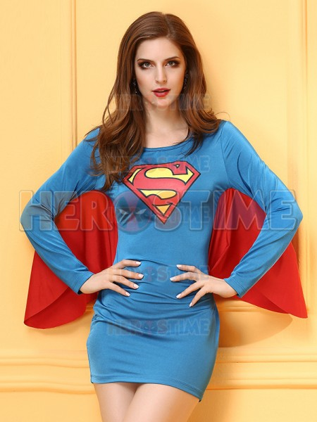 Red And Blue Ladies Cosplay Superman Womens Halloween Fancy Dress