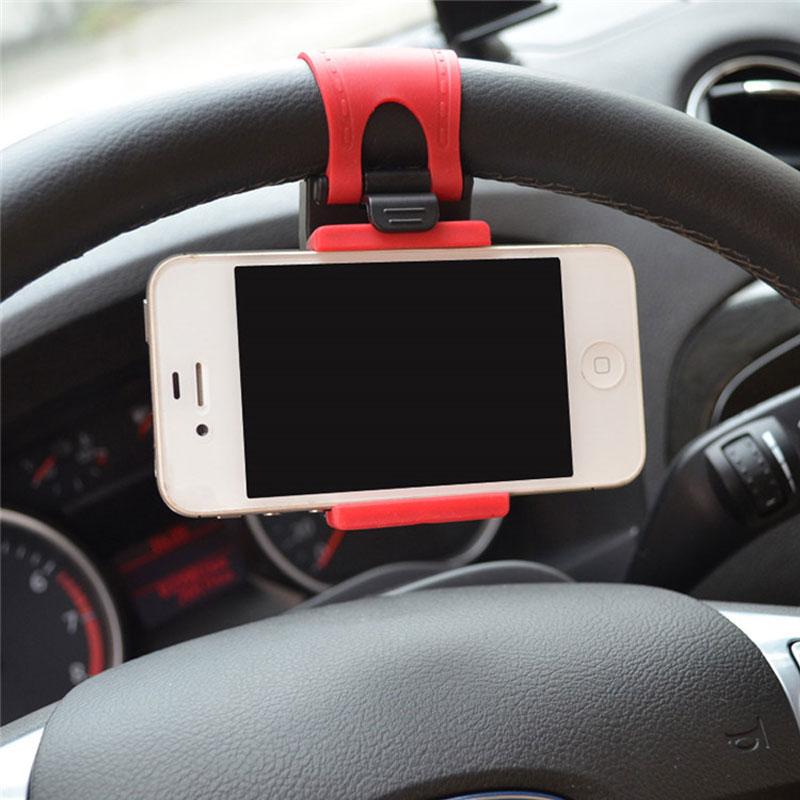 Galleria fotografica Universal Car Steering Wheel Mobile Phone Holder Rubber Bracket For iPhone 5S 6 plus Samsung Galaxy S5 S6 S7 edge Smartphone GPS