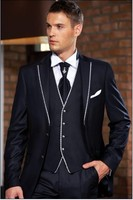 Custom Made Groom Tuxedo Dark Navy Blue Groomsmen Notch Lapel Weddingr Suits Best Man Bridegroom Jacket