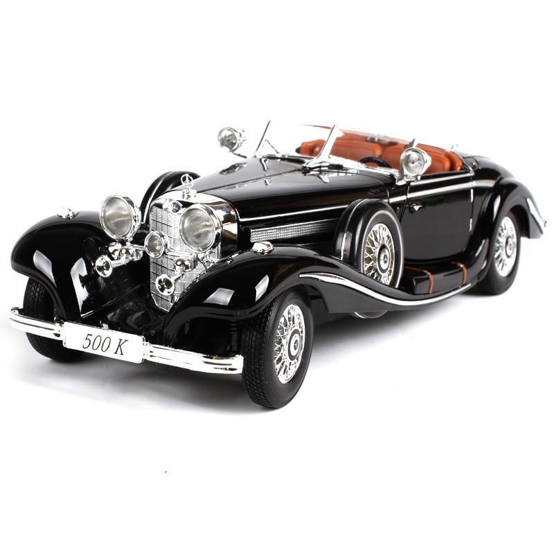 Oyuncaklar ve Hobi Ürünleri'ten Pres Döküm ve Oyuncak Araçlar'de 1:18 Simülasyon Diecast alaşım Antika araba modeli oyuncak benz 500 K Klasik versiyonu diecast Metal nostaljik araba modeli toplama'da  Grup 1
