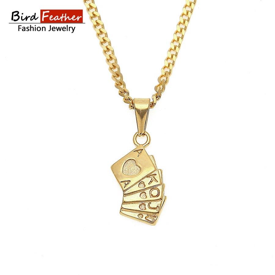 Golden Color Stainless Steel Necklace for men women Poker Cards flush Pendant Chain Necklaces & Pendants Hip Hop Fashion Jewelry