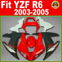 Бесплатно Мотоцикл тела обтекатели комплект для YAMAHA R6 2003 2004 2005 YZF R6 03 04 05 красный черный обтекателя части