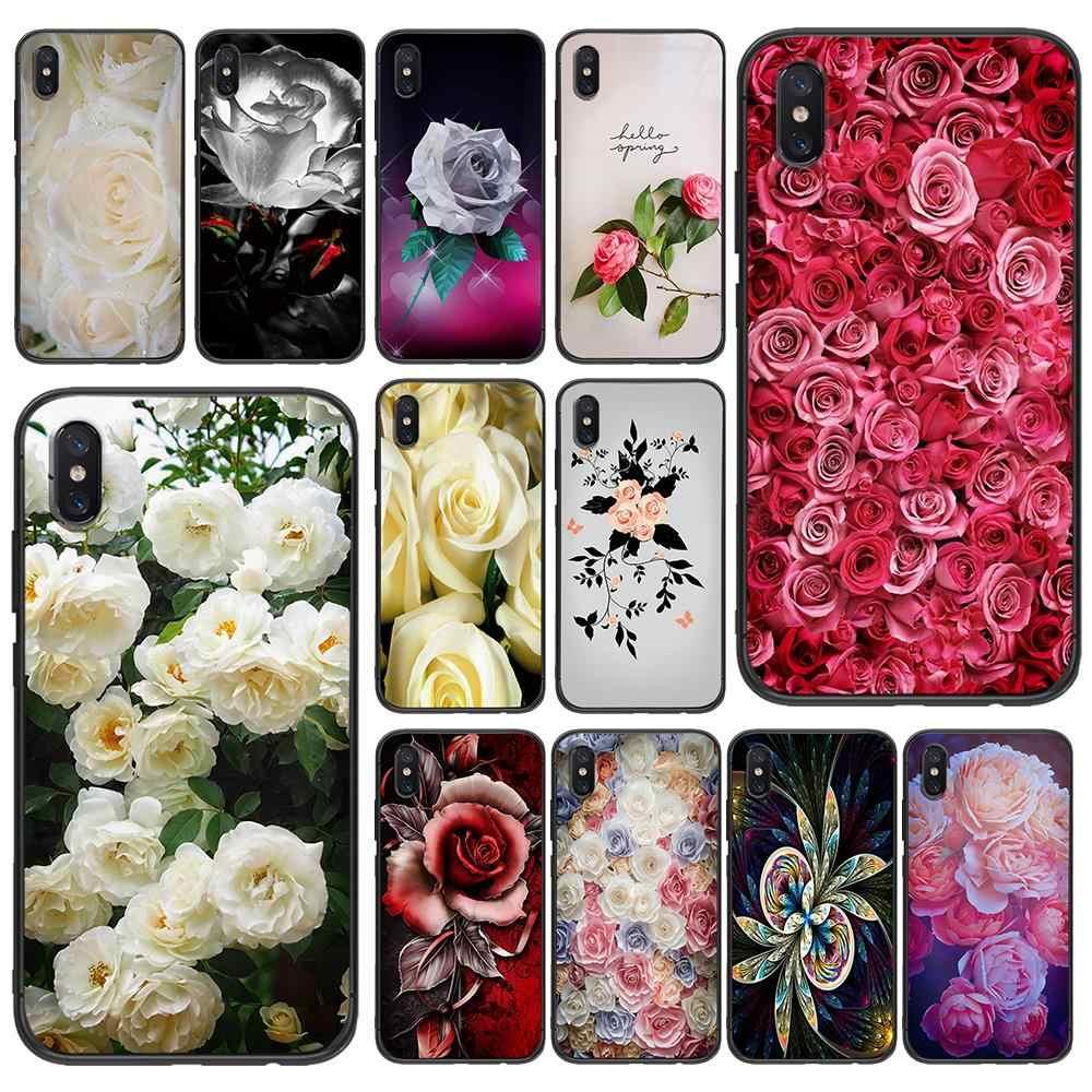 Rosas brancas tpu macio para xiaomi redmi mi6 8 9 a1 a2 f1 plus caso redmi 5/5 plus m8 lite silicone caso de volta