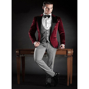 Image 5 - Suit Male 2020 Groomsmen Suit Men With Pants Terno Slim Fit Reached A Peak Lapel Blazer Wedding Groom Tuxedo Purple Mens Velvet