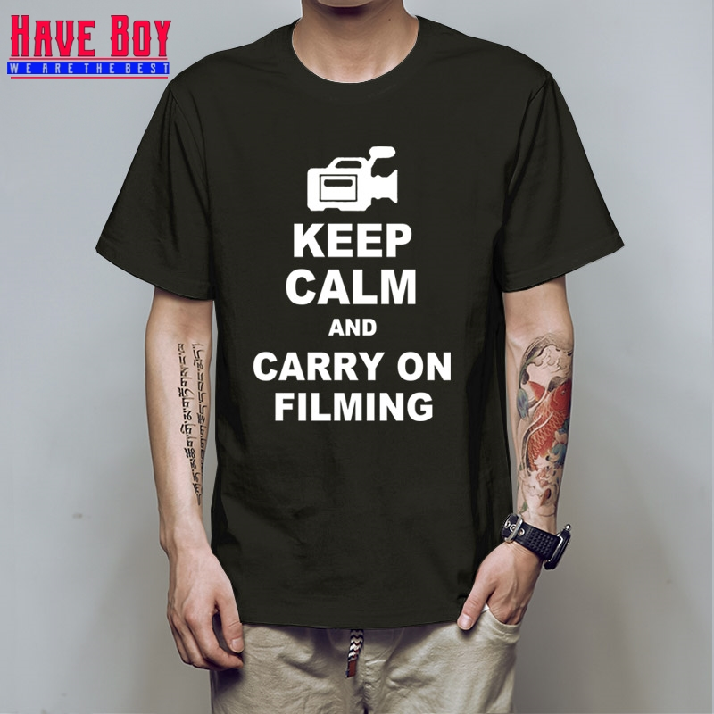 KEEP CALM And Carry On FILMING Film Director COTTON Short Sleeve Casual Men T Shirt Summer Round Neck T-shirt For Men HB220