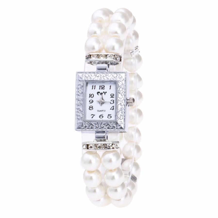 Reloj de pulsera de perlas Vogue para mujer, reloj de vestir para mujer, reloj de pulsera de cuarzo con esfera cuadrada de diamante de lujo para mujer, reloj femenino # Z