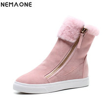 NEMAONE 100% cow leather flat snow boots woman plush winter warm girl' shoes women boots black pink large size 41 42