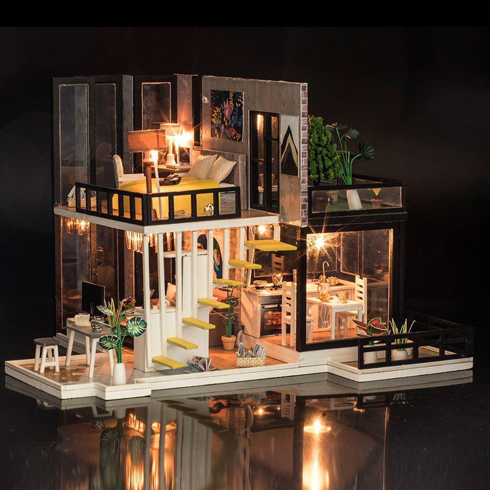 September Forest 3D Doll House Wooden DIY Miniatura Doll Houses Furniture Kit DIY Puzzle Assemble Dollhouse Toys Gift poppenhuis puzzled gothic house wooden 3d puzzle construction kit