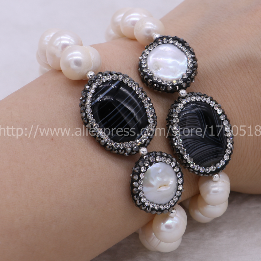 Aliexpress Handcrafted Druzy Bracelet Natural Pearl Bracelets With Black Beads Bangle 655 From Reliable