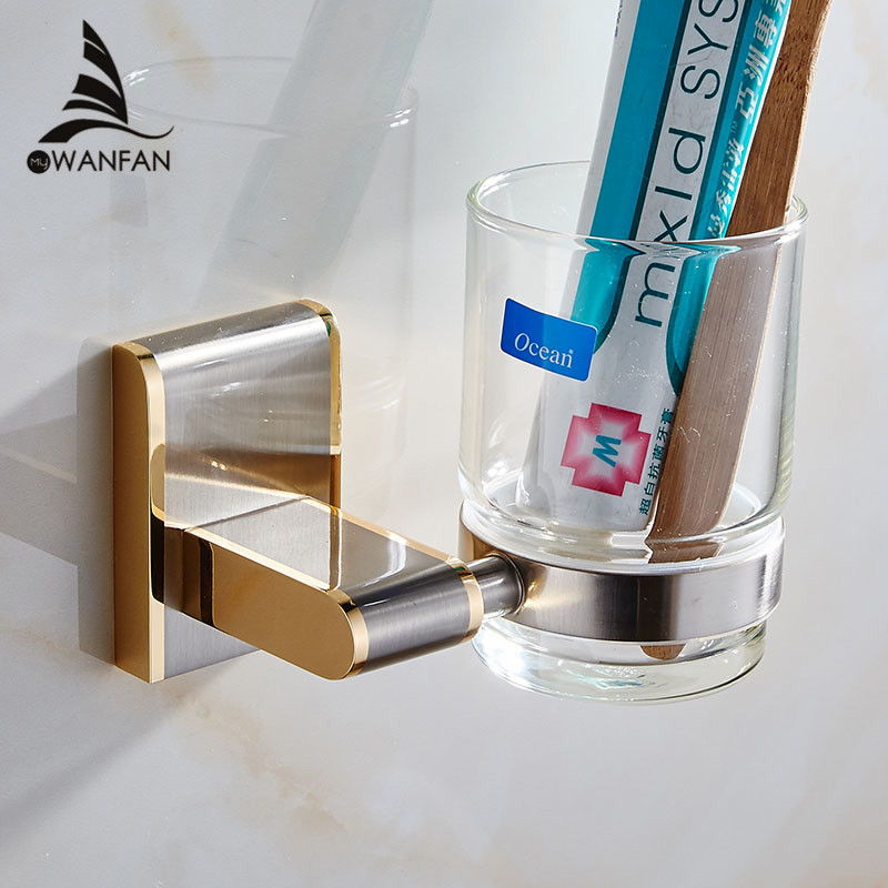 Cup & Tumbler Holders Modern Wall Mounted Single Glass Cups Golden Bathroom Toothbrush Holder Brass Bathroom Accessories 1602 free shipping sus304 stainless steel wall mounted single cup holder glass tumbler holder for toothbrushes bathroom accessories