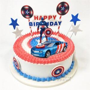 Ciasto topper kapitan ameryka samochodu zabawki dla dzieci urodziny chłopca dzieci prezent ozdoby do dekorowania tortu mini zabawka samochody wykaszarki do ciastek